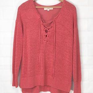 Loft Coral pink V neck tie front light sweater M